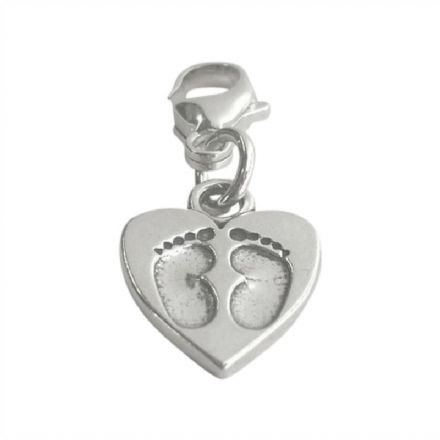 Silver Footprints Charm on Lobster Clasp